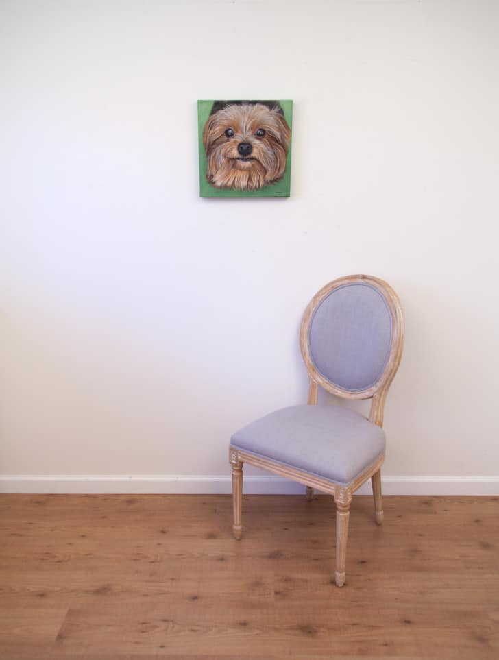 Lexie's Portrait, original acrylic by Erica Eriksdotter, with chair
