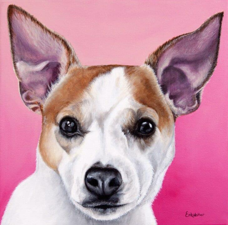 Olive's Portrait - original acrylic pet painting by Erica Eriksdotter | StudioEriksdotter.com