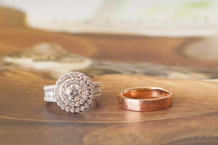 Erica Eriksdotter's wedding rings. Michael M. setting with custom made top and a 5mm rose gold, hammered, wedding band | StudioEriksdotter.com