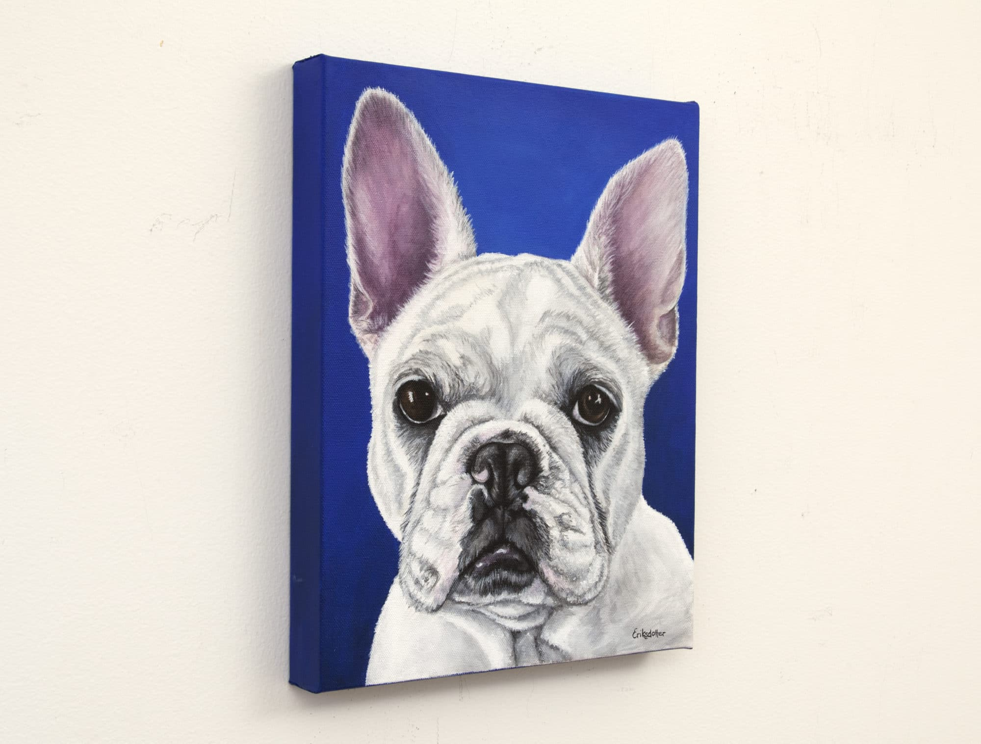 Pet portrait of a french bulldog by artist Erica Eriksdotter