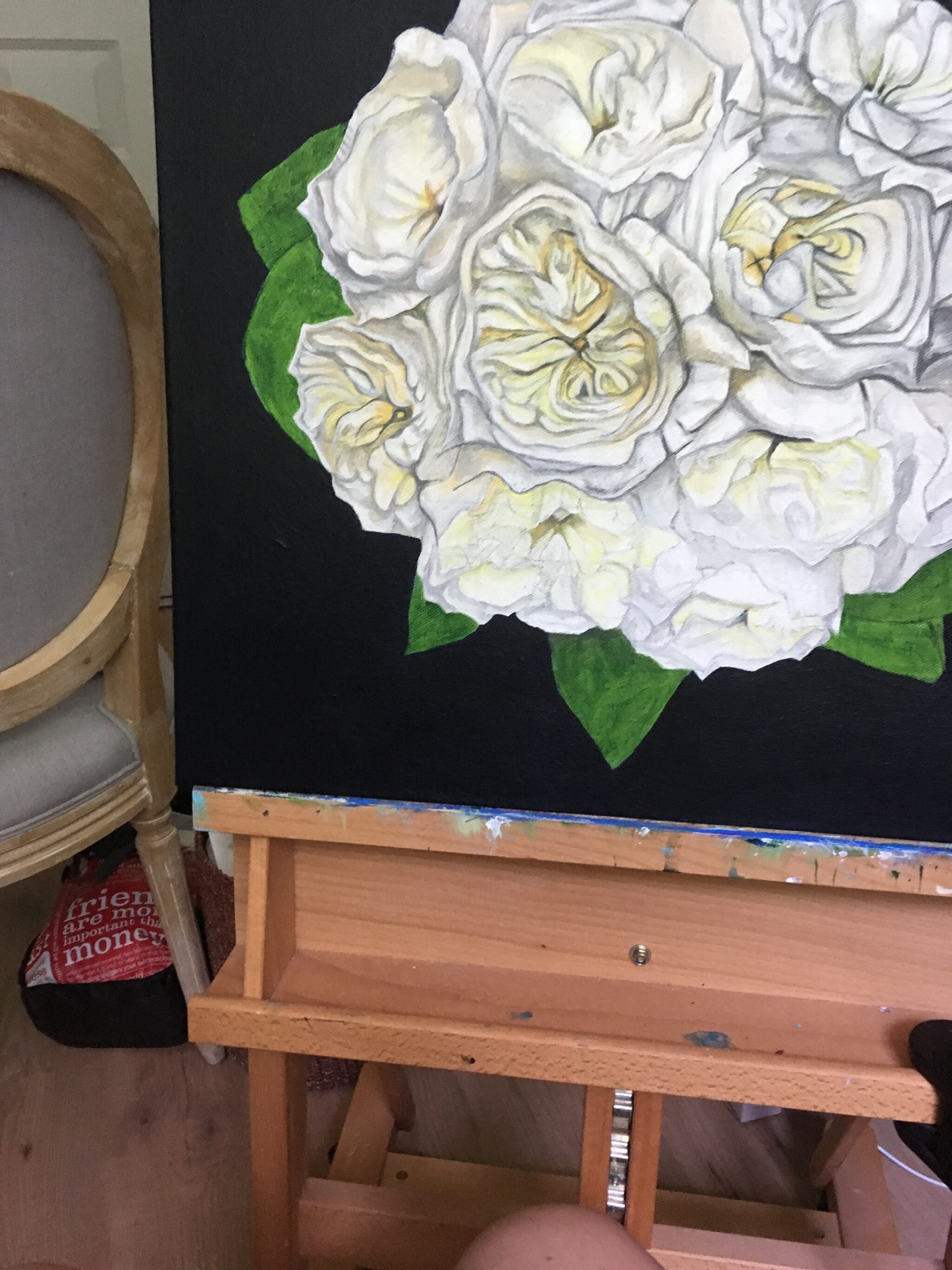 work in progress of an original bridal bouquet painting by Erica Eriksdotter