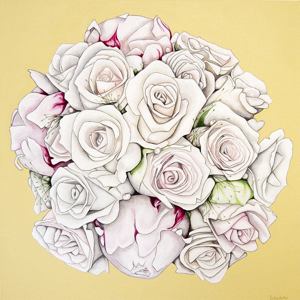 Mirja's bridal bouquet painting - original acrylic by Erica Eriksdotter of Studio Eriksdotter. A unique way of preserving your wedding bouquet flowers.