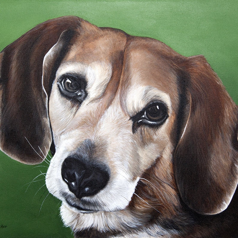 Custom dog portrait of a beagle dog by fine arts painter Erica Eriksdotter