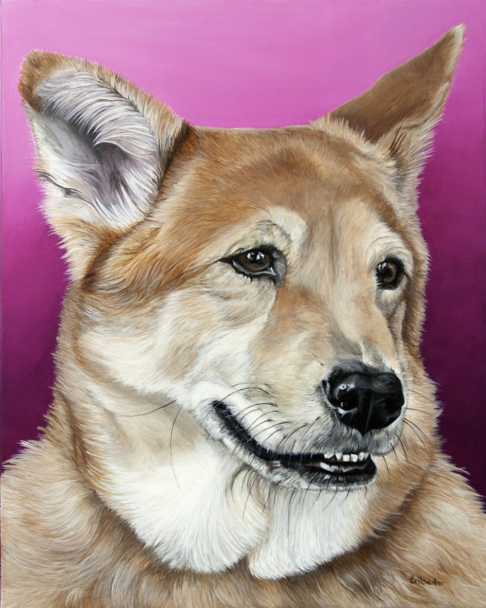 Custom dog portrait of a german sheperd and chow mix dog by fine arts painter Erica Eriksdotter