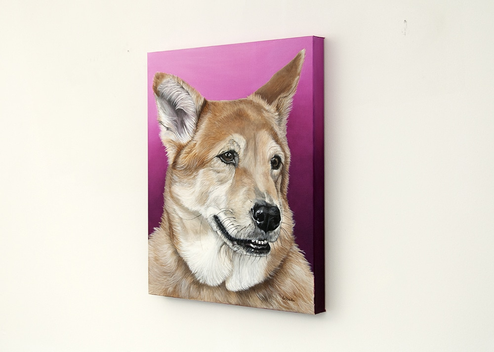 IMG_0355Custom dog portrait of a german sheperd and chow mix dog by fine arts painter Erica Eriksdotter