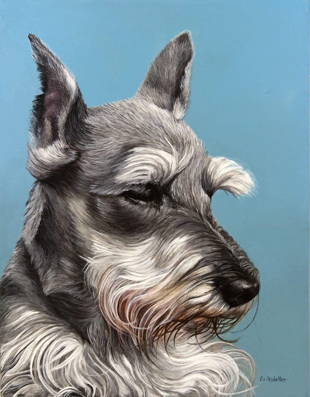 Custom dog portrait of a schnauzer dog by fine arts painter Erica Eriksdotter