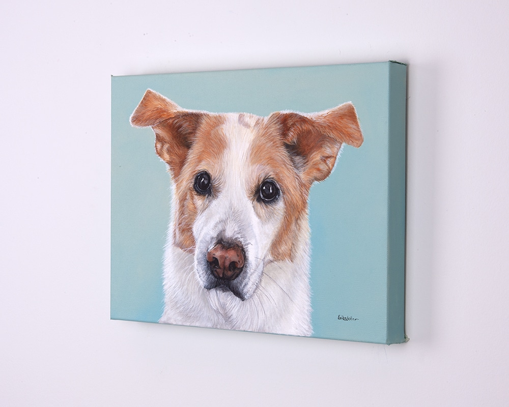 Custom dog portrait of a lab, collie and husky mix by artist Erica Eriksdotter