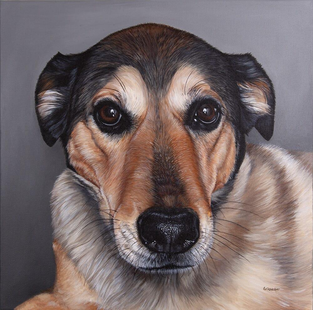 Custom dog portrait of a labrador retriever mix by artist Erica Eriksdotter