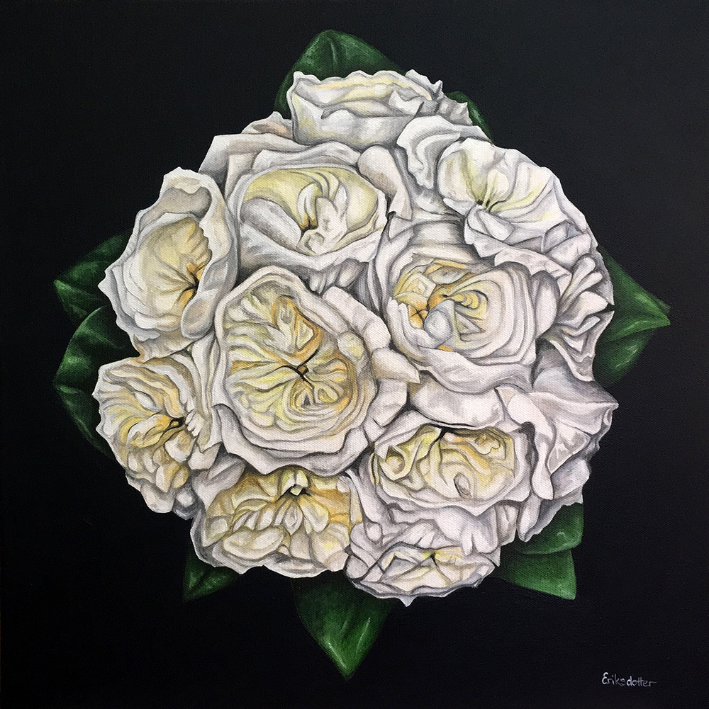 Jess' bridal bouquet painting - original acrylic by Erica Eriksdotter of Studio Eriksdotter. A unique way of preserving your wedding bouquet flowers.