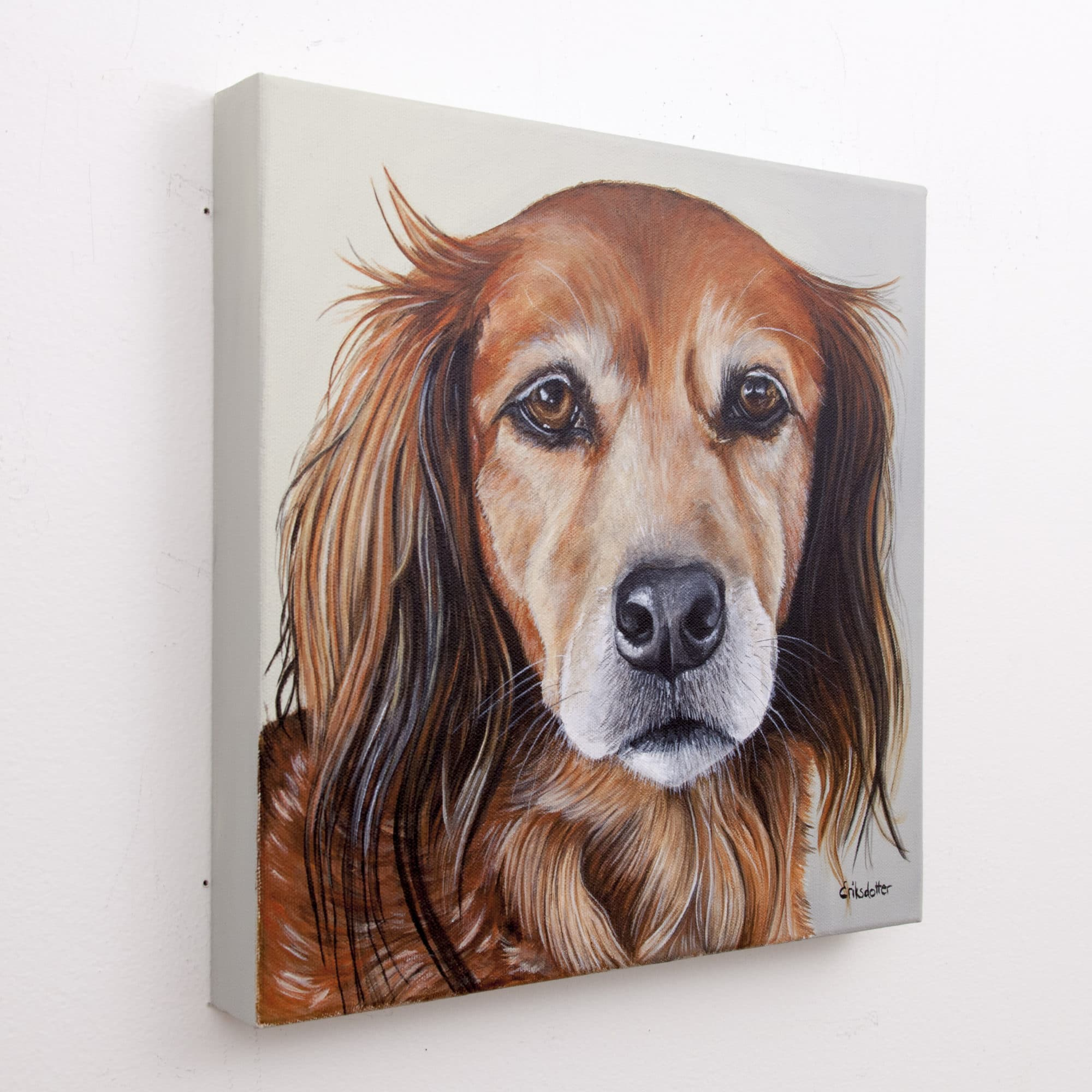 Canela's Portrait - original pet portrait painting by Erica Eriksdotter