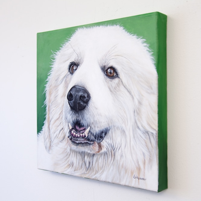 Sugar Bear's original pet portrait of a white great Pyrenees on green background