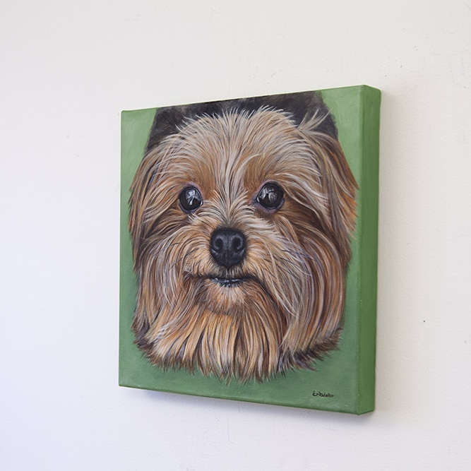 Lexie's original pet portrait of a yorkie on b