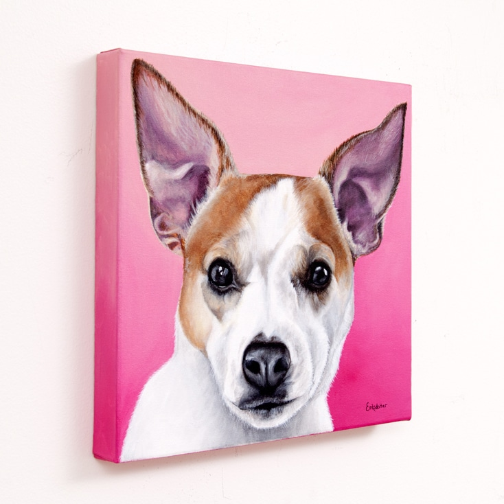 Custom dog portrait of Olive, a jack russell and chihuahua dog by fine arts painter Erica Eriksdotter, left
