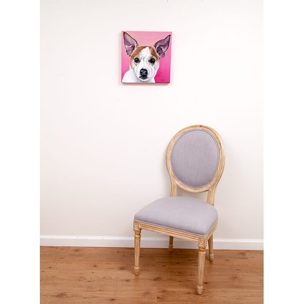Olive's original pet portrait on pink background