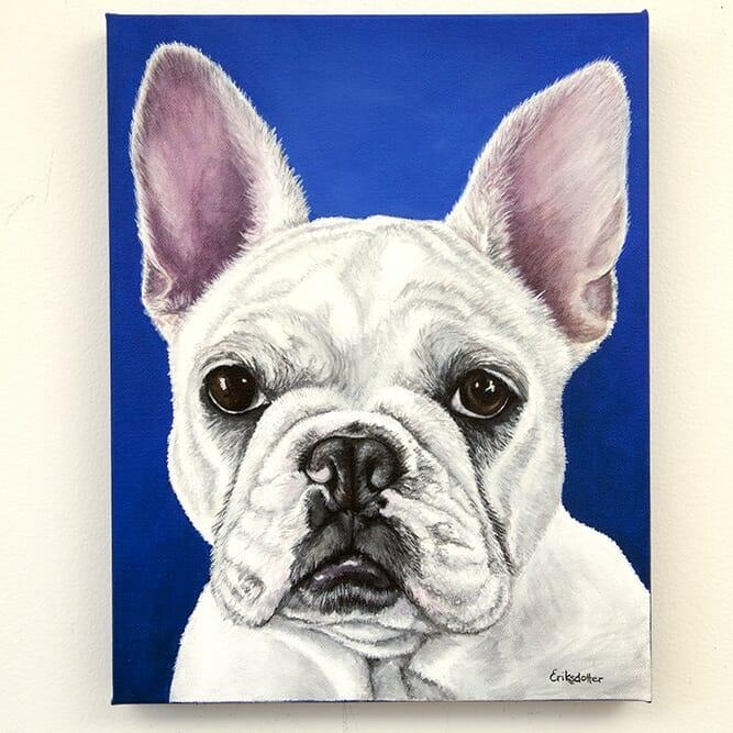 Custom french bulldog portrait by Erica Eriksdotter
