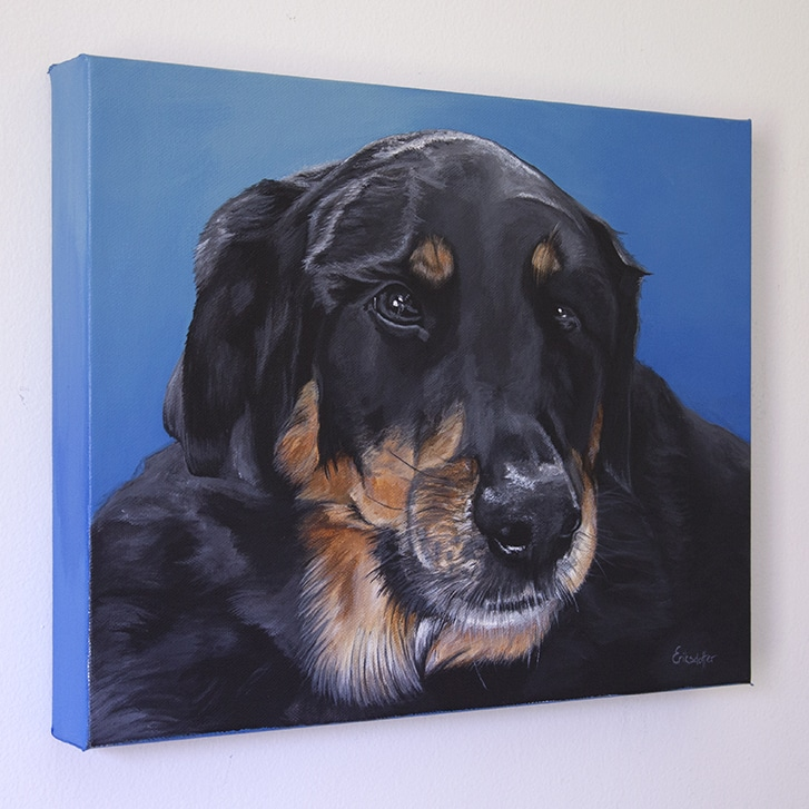 Roxy's original pet portrait on blue background