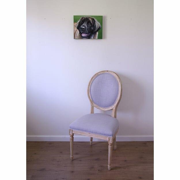 Elsa's original pet portrait on green background