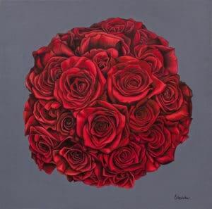 Jaime's bridal bouquet painting - original acrylic by Erica Eriksdotter of Studio Eriksdotter. A unique way of preserving your wedding bouquet flowers.