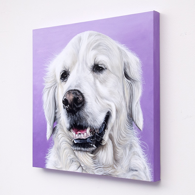 Rosie's original pet portrait of a golden retriever on lavender background