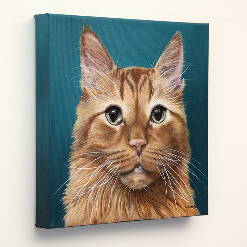 Archie's original pet portrait of a yellow tabby cat on teal background