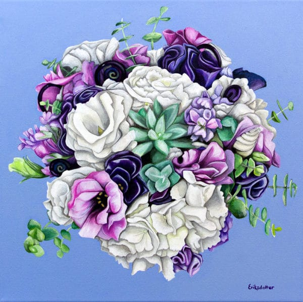 Leigh's bridal bouquet painting - original acrylic by Erica Eriksdotter of Studio Eriksdotter. A unique way of preserving your wedding bouquet flowers.