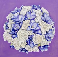 Diana's bridal bouquet painting - original acrylic by Erica Eriksdotter of Studio Eriksdotter. A unique way of preserving your wedding bouquet flowers.