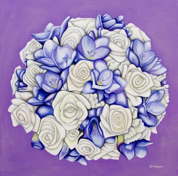 Diana's bridal bouquet painting - original acrylic by Erica Eriksdotter of Studio Eriksdotter. A unique way of preserving your wedding bouquet flowers.