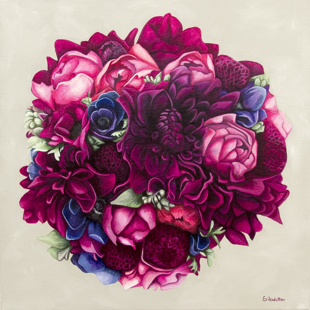 Kate's bridal bouquet painting - original acrylic by Erica Eriksdotter of Studio Eriksdotter. A unique way of preserving your wedding bouquet flowers.
