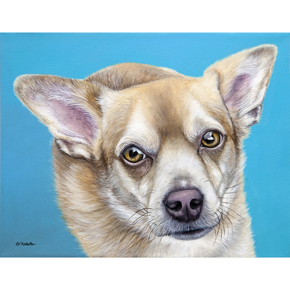 Custom dog painting of a corgi chihuahua mix by fine arts painter Erica Eriksdotter, specializing in custom pet portraits