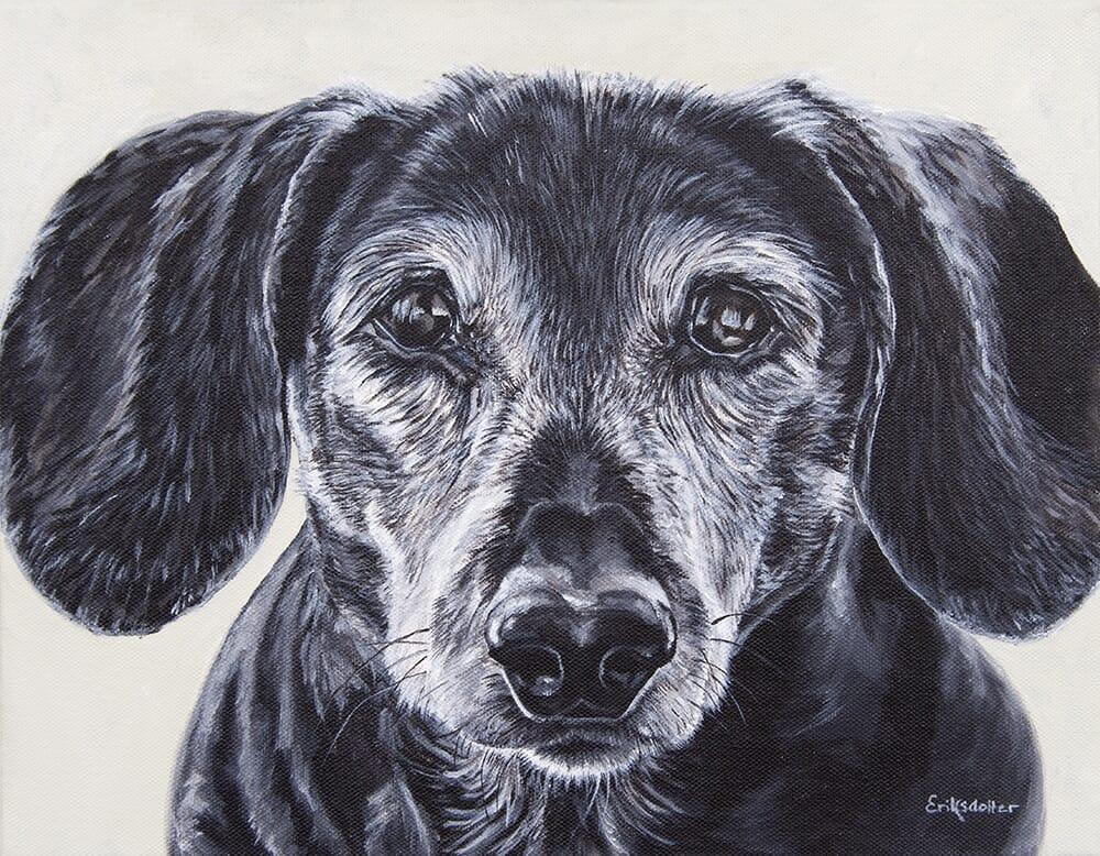 Daisy's Portrait - original acrylic by Erica Eriksdotter