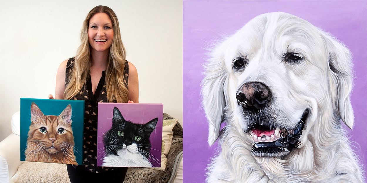 Erica Eriksdotter holding two pet portraits of cats and a dog painting