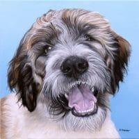 Custom dog portrait of a Saint Berdoodle dog by fine arts painter Erica Eriksdotter