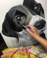 Erica Eriksdotter paints a portrait of a border collie dog