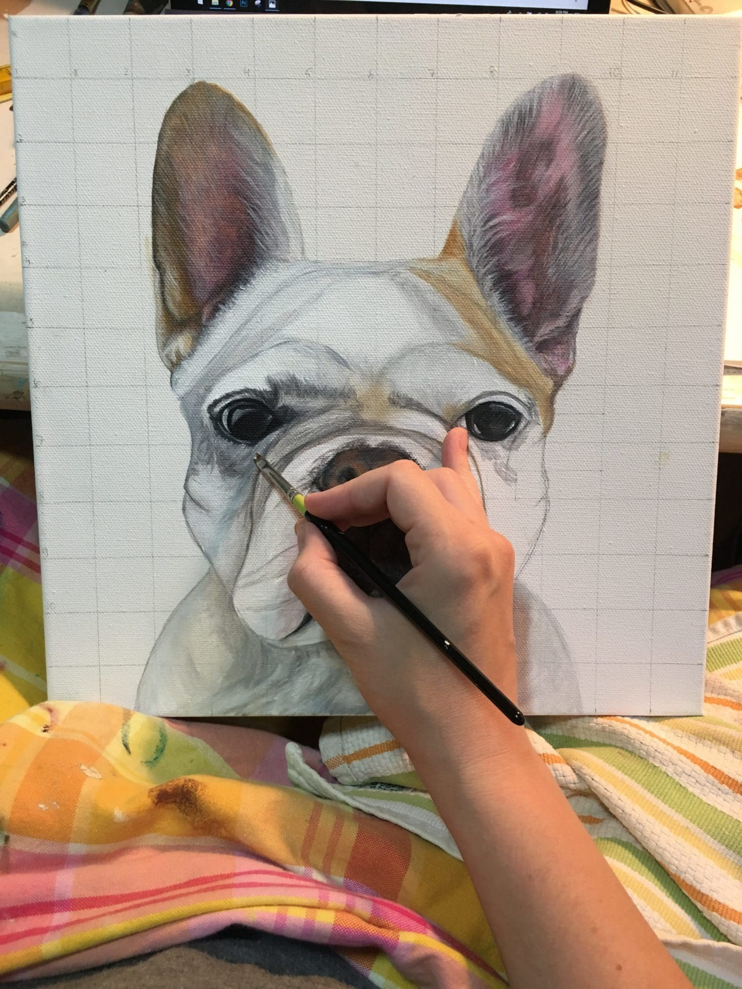 Erica Eriksdotter paints an original painting of a french bulldog