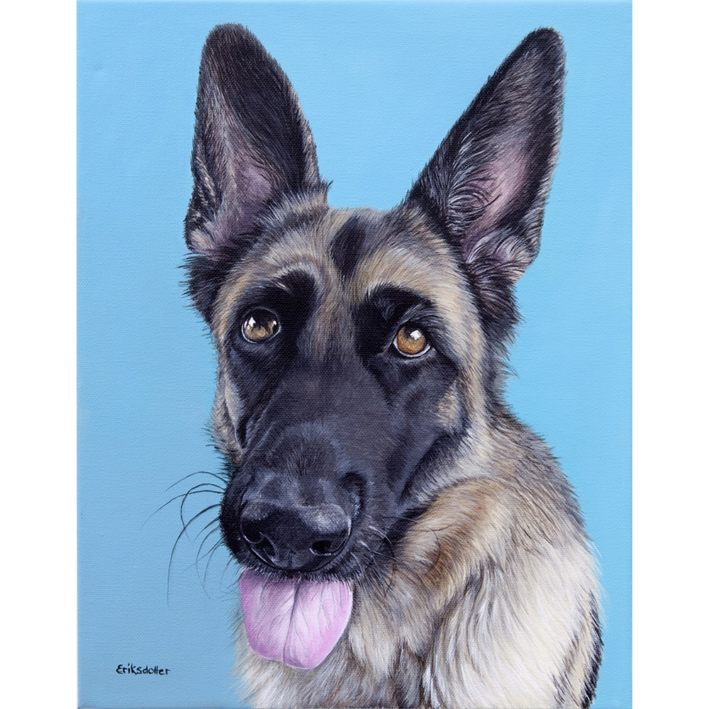 Custom dog portrait of a german shepherd by fine arts painter Erica Eriksdotter, close up