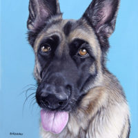 Custom dog portrait of a german shepherd by fine arts painter Erica Eriksdotter, close up