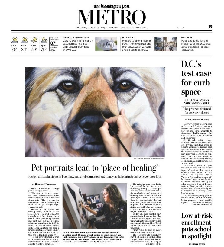Washington Post Metro section cover of Erica Eriksdotter feature