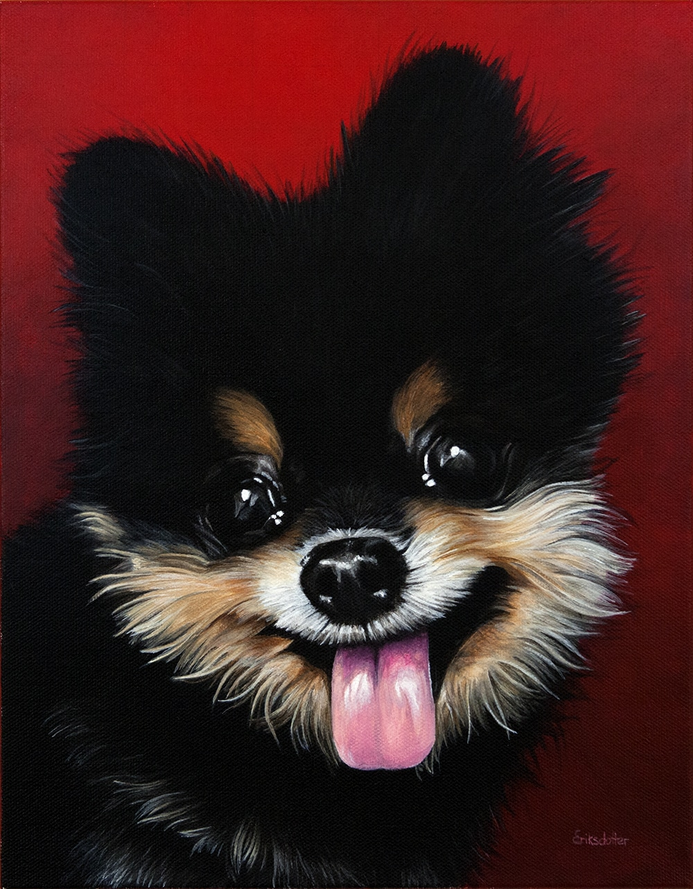 Custom dog portrait of a pomeranian dog by fine arts painter Erica Eriksdotter