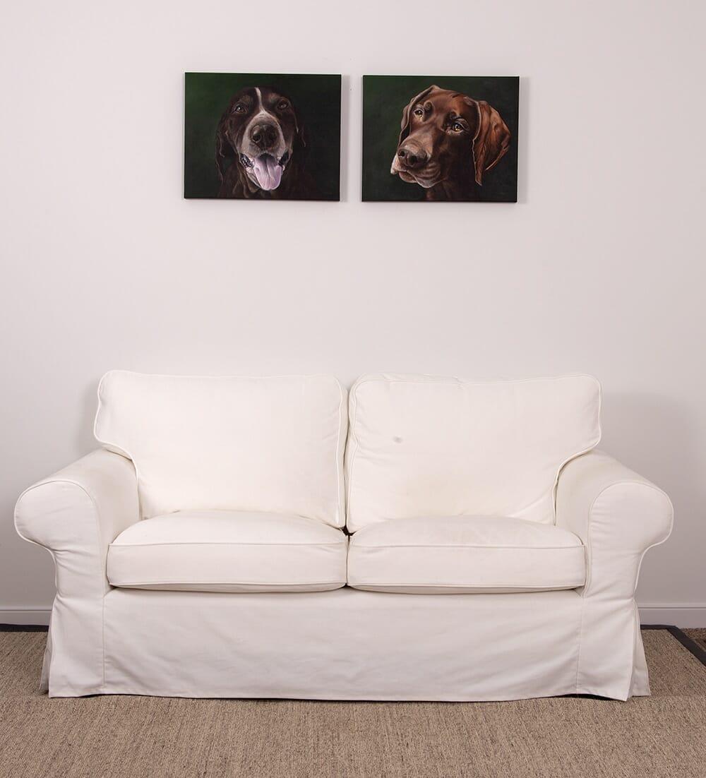 Custom dog portraits of german shorthair pointers by artist Erica Eriksdotter
